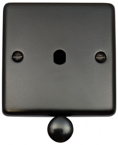 G&H CFB11-PK Standard Plate Matt Black 1 Gang Dimmer Plate Only inc Dimmer Knobs
